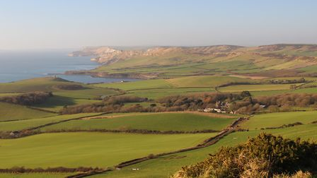 View from Swyre Head with Clavell Tower in the distance on the headland