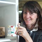 Holt, Norfolk. Emma Bridgwater with some of the Go-Go Hares mugs which are on sale in Break Charity