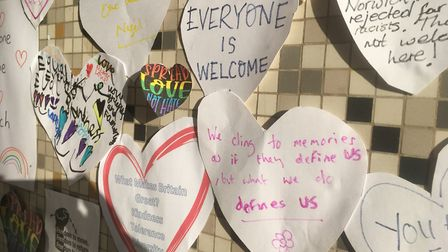 A host of heart-shaped messages have been stuck up outside Winchester Tower Picture: David Hannant/E