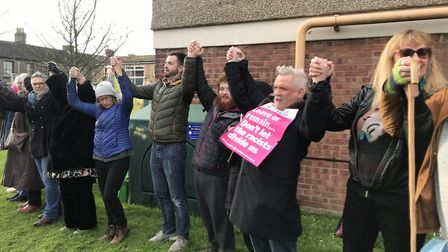 Dozens of people turned up to Winchester Tower in Norwich on Sunday to stand up against racism. Pict