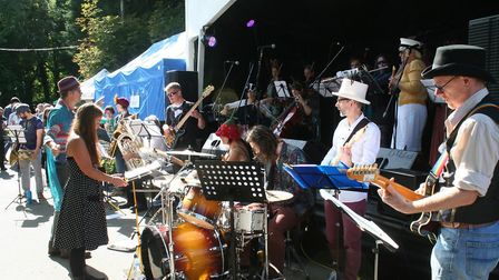 The Fantasy Orchestra on the Village Green Stage at Priston Festival