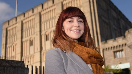 Author and storyteller Isabelle King at Norwich Castle, which is included in her latest book Once Up