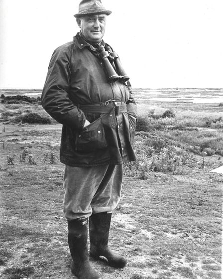 Bert Axell at the RSPB Minsmere Reserve, 1960/ 70