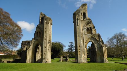 Glastonbury Abbey ruins, looking towards the site of the high altar