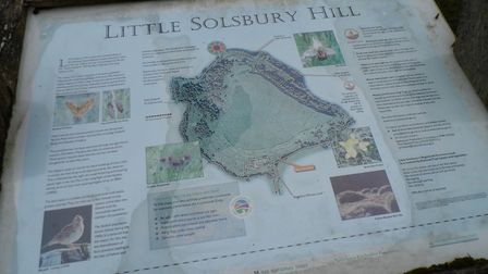 Information board at Little Solsbury Hill, near Bath. Was this Mount Baden?