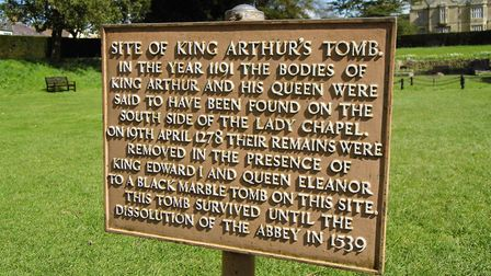 Glastonbury, the plaque recording the onetime resting place of Arthur