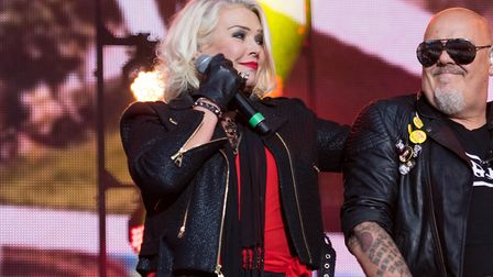 Kim with brother Ricky on stage at Rewind Festival in Scotland last year (c) Duncan Bryceland/REX/Sh