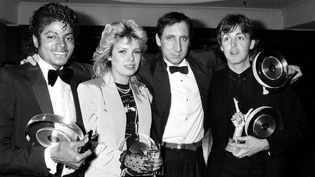 Kim with Michael Jackson, Pete Townshend and Paul McCartney at the 1983 British Record Industry Awar