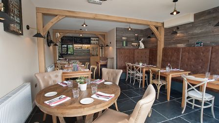 The recently finished dining room was once a barn