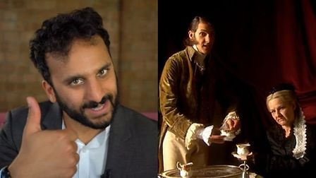 Nish Kumar (left) and Queen Victoria (right) in the Horrible Histories special. Photograph: BBC.