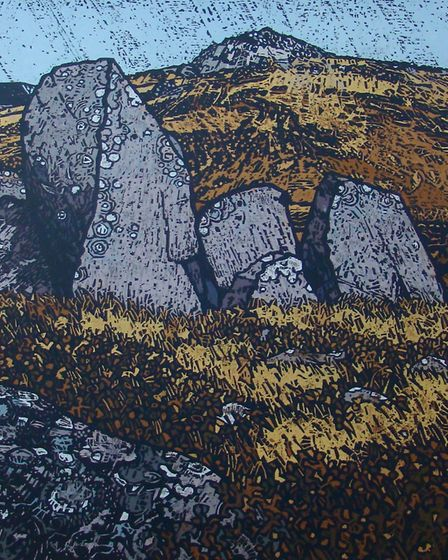 Carrock Fell woodcut shnowing the prehistoric hill fort and outcrops of rock in above Caldbeck in Cu