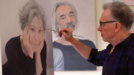 Terence McKenna adds finishing touches to portrait of Zoe Wannamaker with Roger Lloyd Pack in the ba