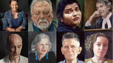 Top row: Willow Major (student); Kenneth Cranham (actor); Indian woman with gold earring; Judge Pete