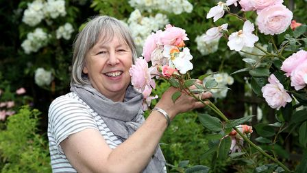 Jacky with one of her favourite roses