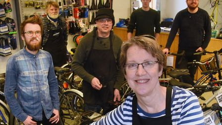 Lucy Hall and the team at Bicycle Links (photo: Denise Bradley)