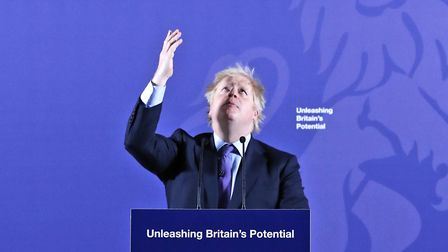 Prime Minister Boris Johnson delivers his Unleashing Britain's Potential speech in the Painted Hall,