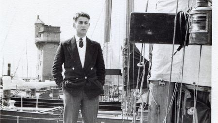 The author on board RAF 100 square metre yacht at Kiel