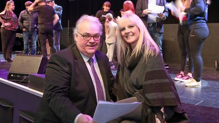 Producer, Alan Gregory, with Dance Director, Donna Harrison in rehearsals for Beyond The Pier Musica