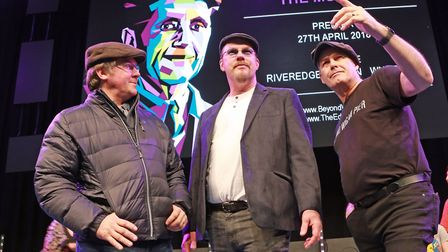 Neil Dunlop, Tim Cooke and Les Hilton in rehearsal for Beyond The Pier Musical at The Edge, Wigan