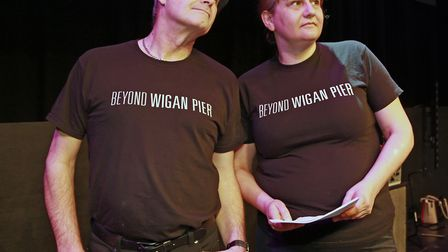 Les Hilton and Wendy Boyers in rehearsal for Beyond The Pier Musical at The Edge, Wigan