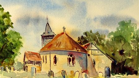 ST NICHOLAS CHURCH I chose to paint the back view of the church, emphasising the graceful rounded c
