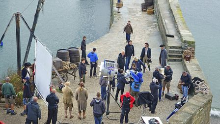 The BBC Poldark series, staring Aidan Turner, the cast taking a break while filming in Charlestown.