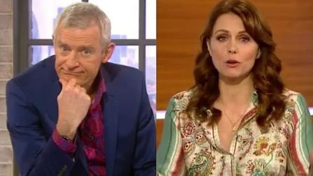 Jeremy Vine (left) and Beverley Turner (right) talk to caller Margaret about Brexit Day. Photograph: