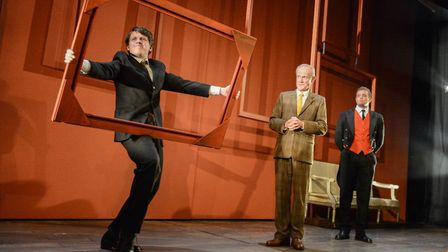 Toby Vaughan (Phillips), James Duke (Anthony Blunt) and Oliver Mott (Colin). Photo by Robert Day.