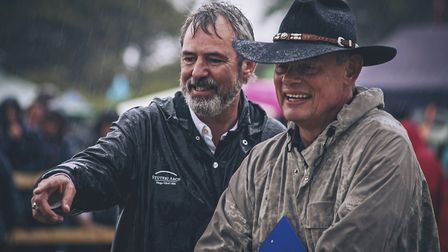 Neil Morrissey and Martin Clunes judging Dog Most Like Neil Morrissey at last year's Buckham. pictur