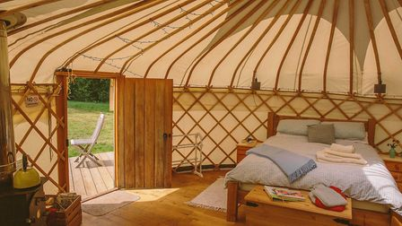 Inside a luxury yurt at Round the Woods (photo: roundthewoods.co.uk)