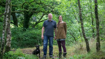 Philip and Suzy Saunders at Sunny Brow Farm with their Patterdale Terrier, Alice
