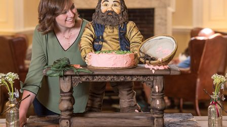 Kate Barmby and her showstopper 'Keeper of the Keys' cake, inspired by Harry Potter (photo: Steve Ad