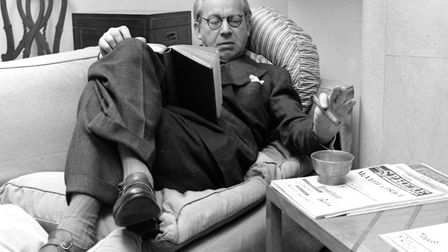 Sir Alexander Korda reading a book on a couch, United Kingdom, 1948 (Photo by Nat Farbman/The LIFE P
