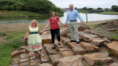 Coun. Cheryl Little with Julie Vale and Alan Pedder (Chairman of The Friends of Fairhaven Lake) at t