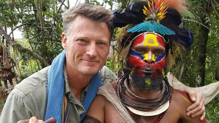 Benedict, with friend Howard of the Hewa People from Papua New Guinea