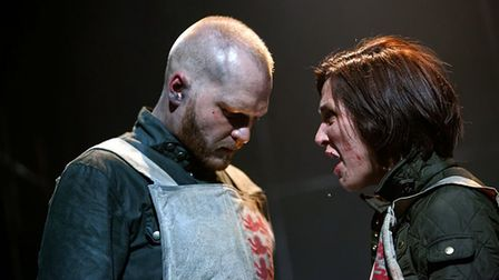 Ben Hall as Henry and Alice Barclay as Exeter in Henry V at the Dukes in Lancaster