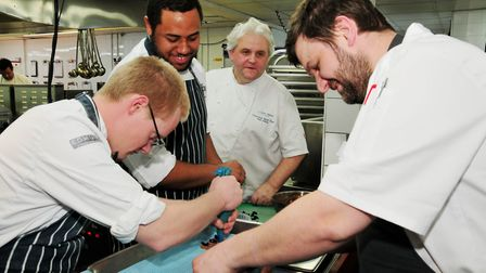 Alan Paton (second right) and Lee Cooper (right) with young chefs
