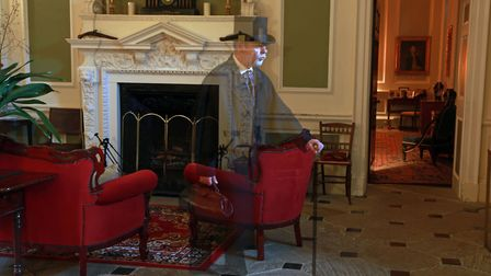 Stephen Mercer enacting a ghostly happening at Lytham Hall