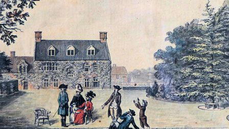 Humphry Repton's watercolour, dated 1782, of his wife and family in the garden at Sustead Hall (pict