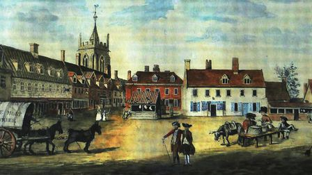 Aylsham Market Place 1814 by Humphry Repton (picture courtesy Lord and Lady Walpole, photographed by