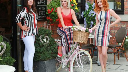 Clare Bates (left) with model mums Sarah Williams and Jade Mulhearn