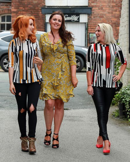 Clare Bates (centre) with model mums, Jade Mulhearn (left) and Sarah Williams (right)