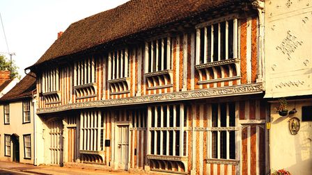 View of the exterior of Paycocke's on the street front. An early c16th town house built by the wealt