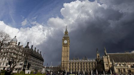 Dark clouds and blue skies over the Palace of Westminster, London. Photograph: Yui Mok/PA.