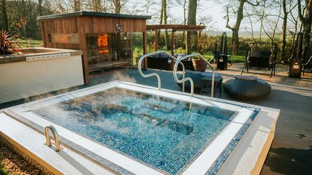 A pool with a view - one of two outdoor hot tubs in the Zen Garden