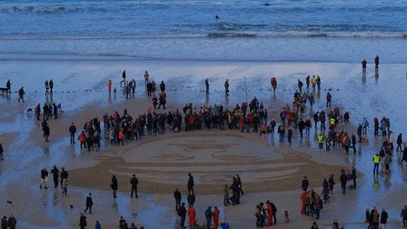 At Porthmeor Beach big crowds turned out to commemorate Captain Edward 'Teddy' Hain
