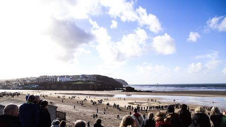 At Perranporth Beach many people turned out to commemorate Archie Jewell