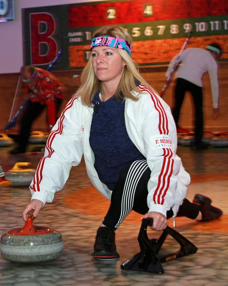 Curling action on the ice with Jacqui Southworth
