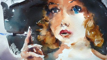 Woman in a black hat by Trevor Lingard