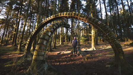 Philippe Handford, lead artist of the Pendle Sculpture Trail, with his stunning piece 'Reconnected 2